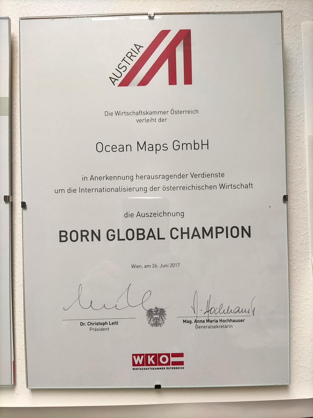 WKO Ocean-Maps-GmbH Urkunde BORN-GLOBAL-CHAMPION 2017