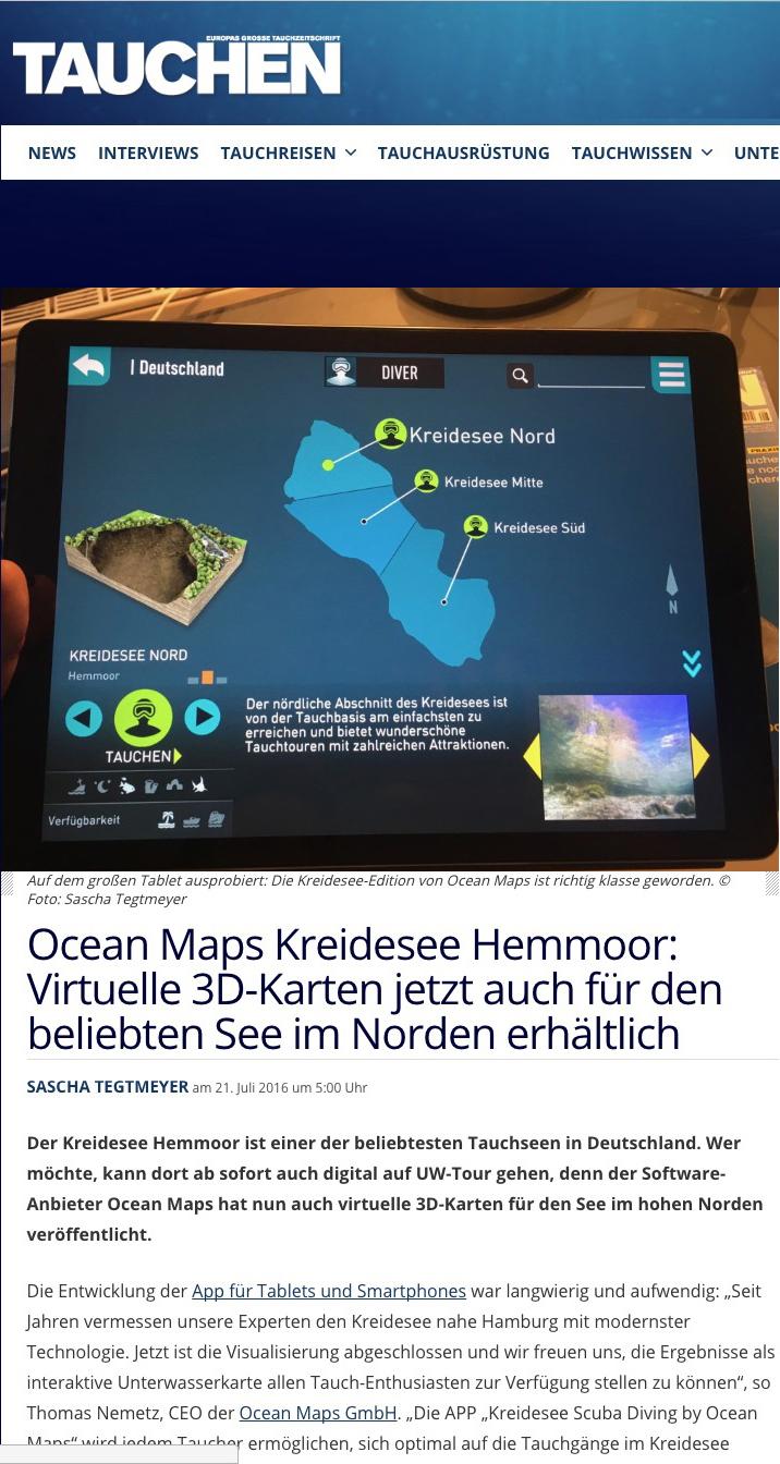 TAUCHEN Kreidesee Hemmoor OCEAN-MAPS Virtuelle 3D-Karten