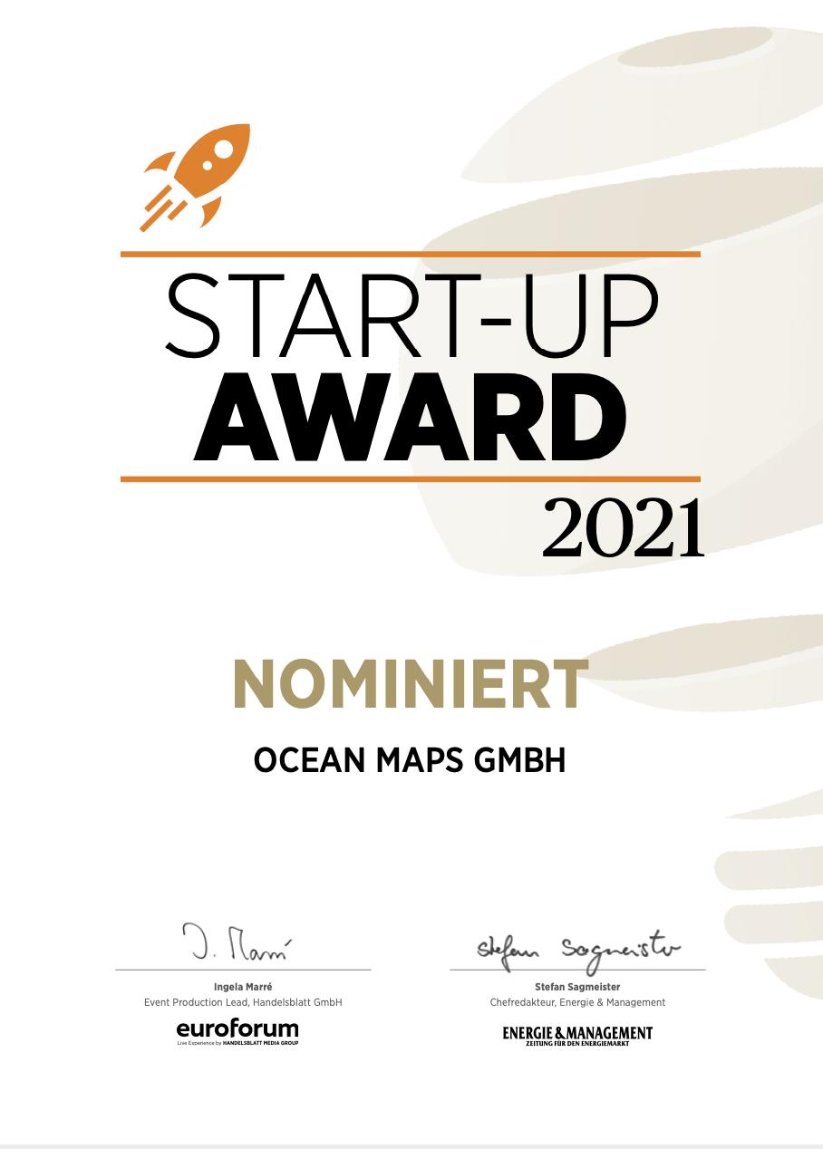 Start-up-Award_Urkunde_OCEAN-MAPS-GMBH
